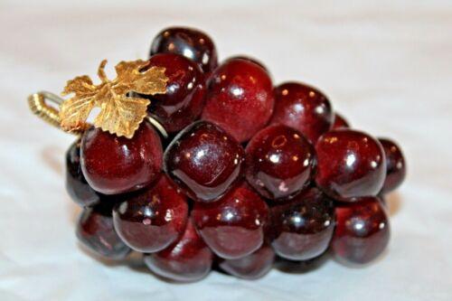 Vintage Grape Cluster Mid Century Gem Polished Stone W/Gold Leaf Burgundy Tones