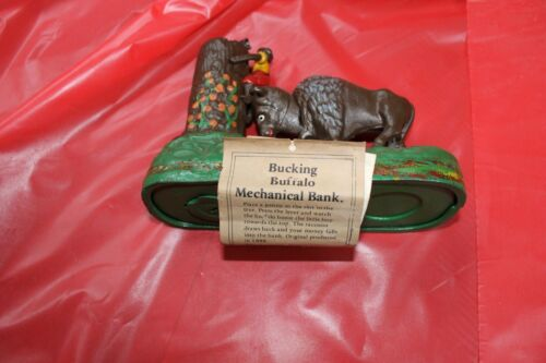 John Wright Co Butting Buffalo Cast Iron Mechanical Bank
