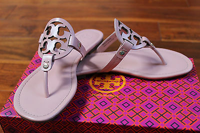 NIB Tory Burch Clay Pink Leather Miller Logo Sandal Thong Flop Flop Shoe 8 $195