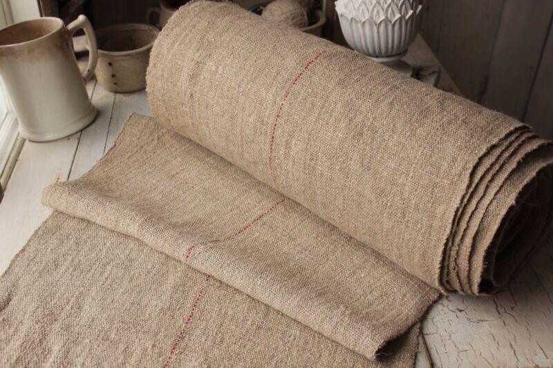 Grain sack fabric Red Center Stripe Vintage homespun hemp 19.5 yards upholstery