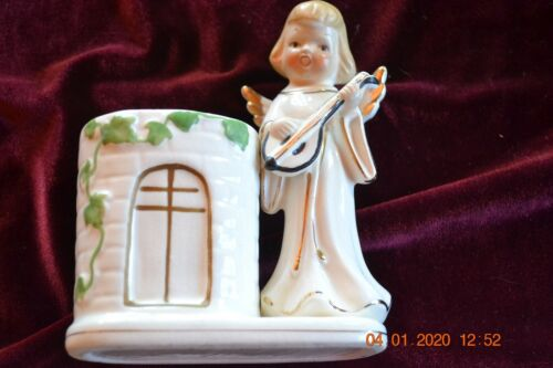Vintage Christmas Angel playing guitar Planter (Church looking planter) Unmarked