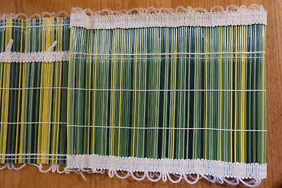 NEW vintage valance plastic reed green yellow Woolworth Woolco 52 x 9 retro
