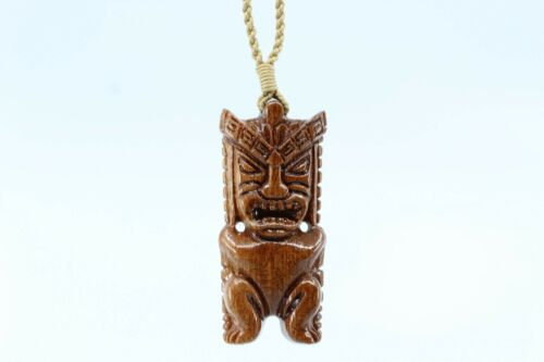 Hawaiian Koa Wood Tiki Necklace - Hand Carved Genuine Koa, Polynesian, Guardian