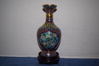 Collectible Cloisonne Enamel Copper Bottle Vase Bird Motif  B  Vintage