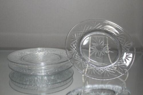 """FOUR (4) VINTAGE 6"""" CUT CRYSTAL GLASS DESSERT APPETIZER CANAPE PLATES"""