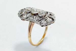 14K White and Pink Vintage 0.65 CTW Old Mine Cut Diamond Ring RN10-0011