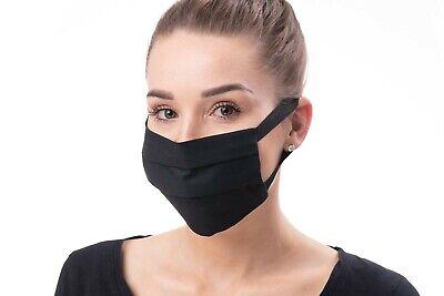 5 Stück Black Community Maske Mundschutz Baumwolle 2-lagig zum binden schwarz