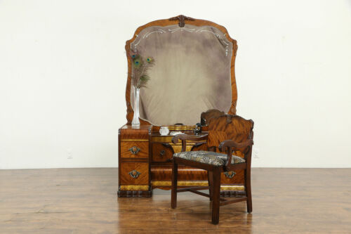 Art Deco Waterfall Vanity and Chair, Beveled Mirror, Bakelite Pulls #34214