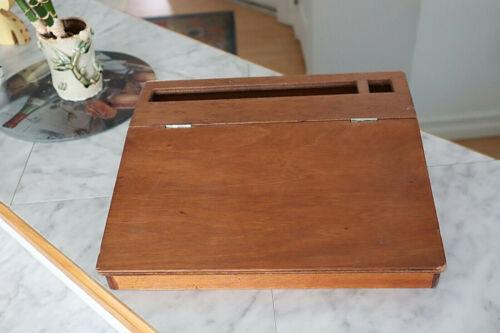 Vintage Wood Slant Top Writing Storage Box Desk