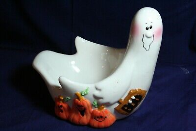 Ceramic White Ghost Serving Dish With Pumpkins and a Boo Sign