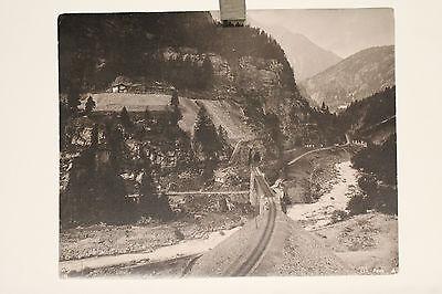 altes  großes Foto Faido Amsteg mit Gotthardbahnbrücke Schweiz um 1900