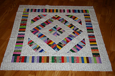 Scrappy String Diamonds Quilt Top for Baby  - Lots of Color