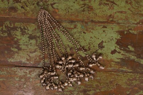 Antique Tribal India Old Silver Necklace Pendant Tassel (HUGE)