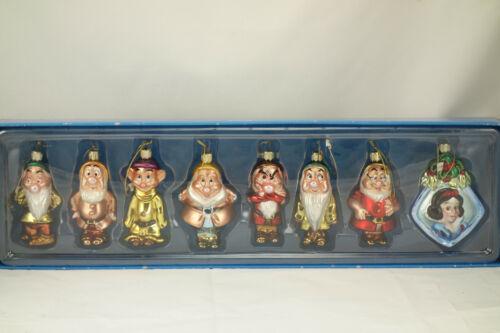 NIB Walt Disney Snow White Seven Dwarfs Christmas Hand Blown Glass Ornament Set