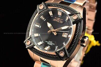 NEW Invicta 50mm Men's Bolt Quartz Square Rose Gold Ion Plated Black Dial Watch
