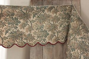 Antique French Fabric Tree Design Blue C1880 Bed Quilted