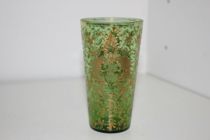 "ANTIQUE HAND PAINTED VICTORIAN 4"" GREEN GLASS VODKA TUMBLER-GOLD-MOSER"