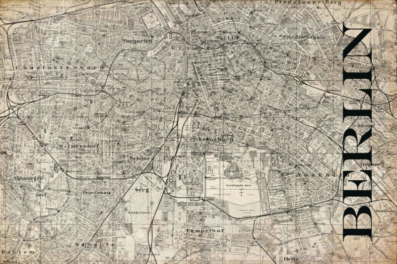 "Vintage Map of  Berlin 20"" x 30:"