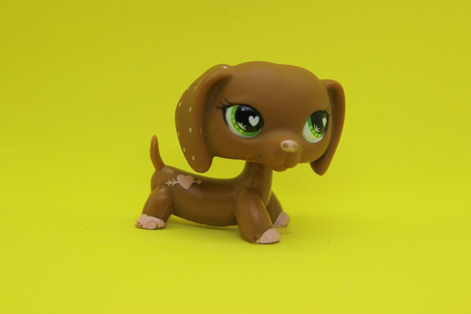 Authentic littlest pet shop brown pink valentine dachshund #556 teckel lps