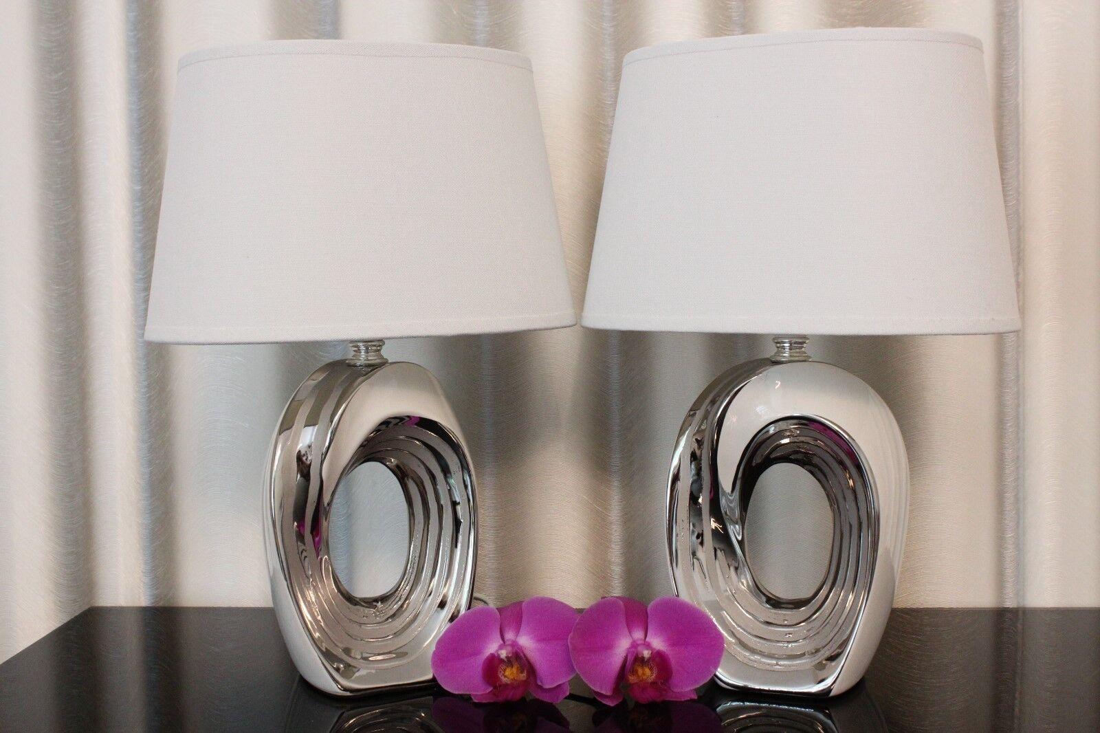 Tischlampe Keramik Vase Lampe Leuchte Blumenvase weiß silber Nachttischlampe