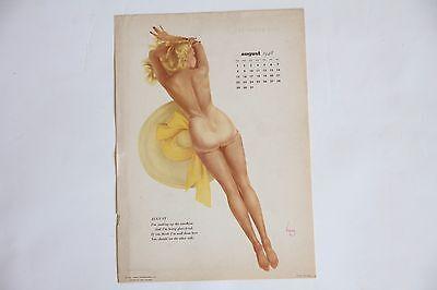 Varga 1948 rare collectable vintage original pin-up calendar page August