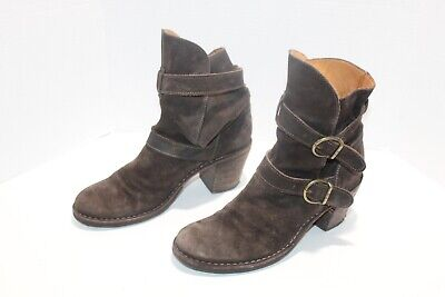 Fiorentini and Baker Womens Brown Suede Leather Slouch Boots Chunk Heel Size 40