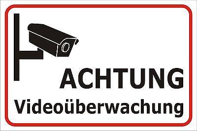 Schild Videoüberwachung Kamera 15x20, 20x30 oder 30x40 Sicherheit Hinweis Alarm 20 X Video
