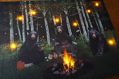 Lighted BLACK BEAR Sign Campfire Smores Camping Log Cabin Lodge Home Decor NEW - Bears Decorations