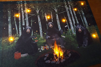Lighted BLACK BEAR Campfire Smores Camping Log Cabin Lodge Home Decor Sign NEW