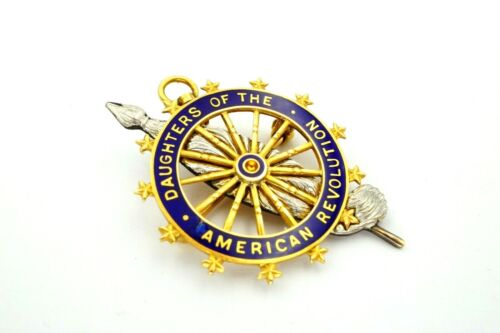 Vintage 14k Yellow Gold DAR Daughters Of The American Revolution Blue Enamel Pin