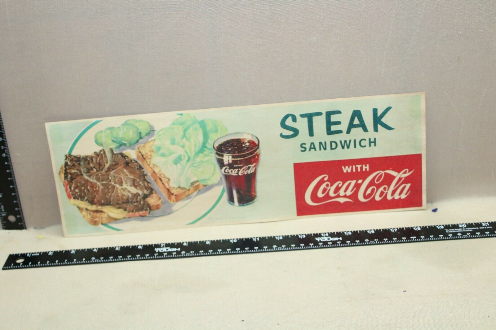 RARE 1957 COCA COLA STEAK SANDWICH DINER DISPLAY SIGN DRIVE IN RESTAURANT GAS  - $0.99