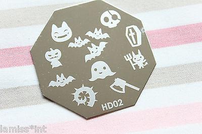 Nail Art Stamping Schablone Halloween HD 2 XL Design Fledermaus Geist Schädel ()