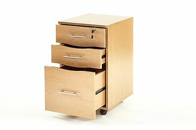 3 Drawer Lockable Filing Pedestal Office Furniture Under Desk Storage Unit Beech