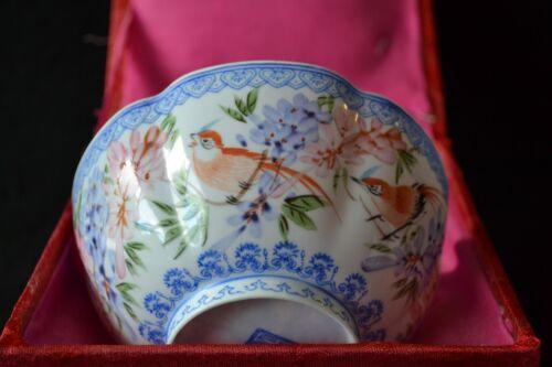 Vintage Chinese Eggshell Porcelain Bowl w/ Birds ans Flowers 1950