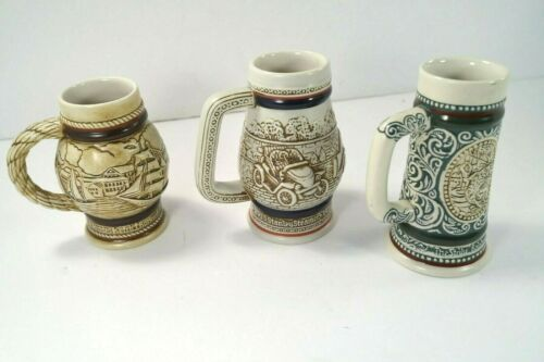 Set of 3 AVON Mini Beer Steins Vintage 1982/83 Made In Brazil Ships,Cars,Hunting