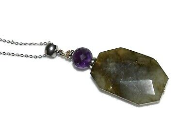 Labradorite Amethyst Pendant Necklace Natural Stone Crystal Healing Stainless S