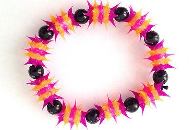 UV GLOW  Silicone Bracelet surfer rave dance hippie Pink orange UV GLO 010