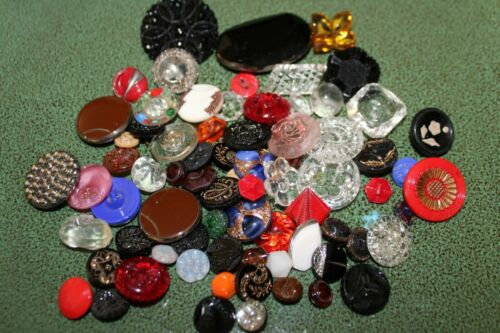Vintage Lot of 75 All Glass Buttons Pretty Ornate Patterns