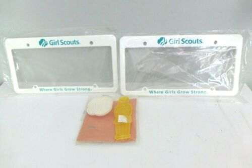 Lot Of 3 Girl Scouts Collectibles 2 License Plate Frames & Cookie Cutters NEW