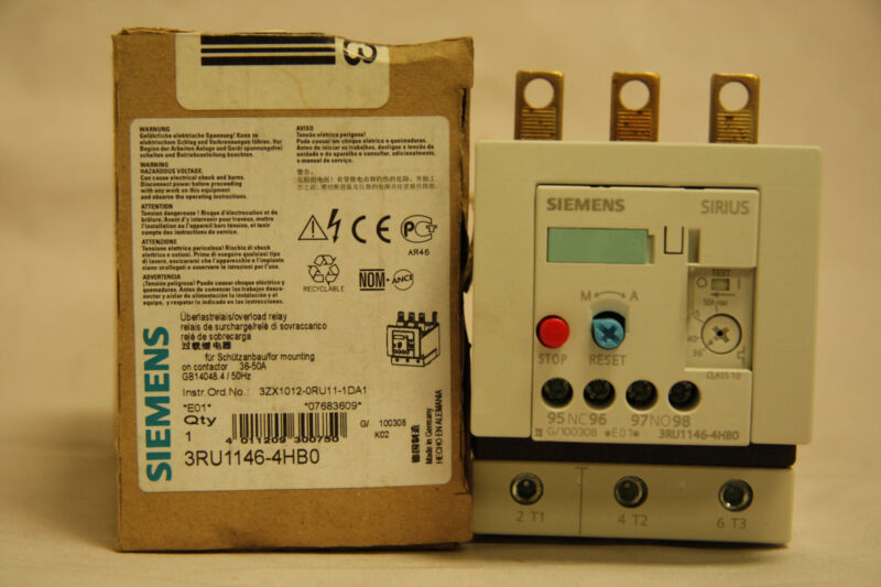 Siemens Sirius 3RU1146-4HB0 Overload Relay 3 Pole 36 - 50A E01 Size S3 New