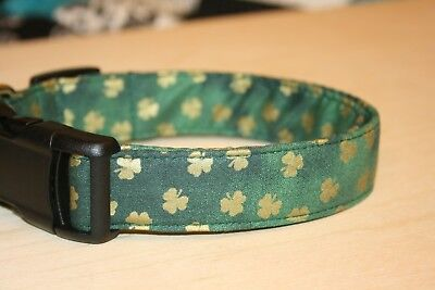 Dark Cat (Gold Shamrocks on Dark Green Dog & Cat Collars & Martingales & Leashes )