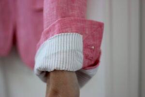 Sz 2 J.CREW Pink Linen Schoolboy Blazer Lined Blue and White Stripe