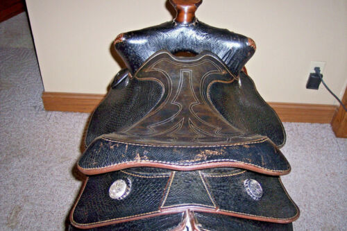 "RARE Vintage Bighorn Pioneer Python 15.5"" Leather All Purpose Western Saddle"