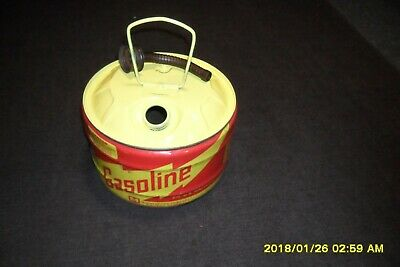 Vintage 2 12 Gallon Round Steel Gas Can Midwest Can Co Vented  Ez To Use