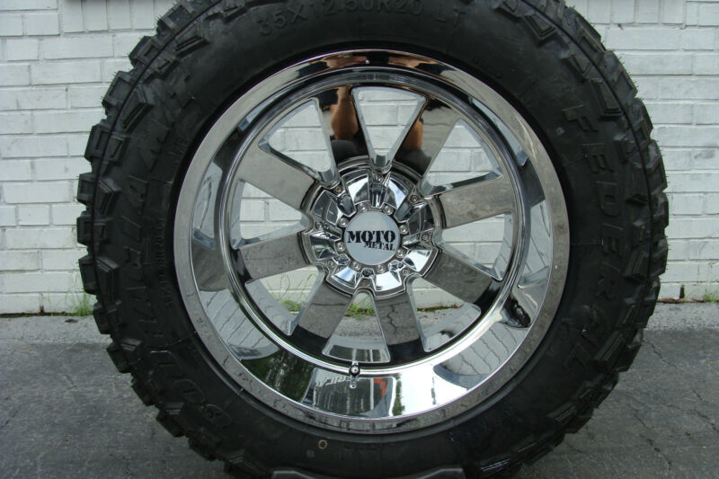 "20"" 20x12 Moto Metal 962 Chrome Federal Couragia Mt 33x12.50r20 33"" Mud Tires"