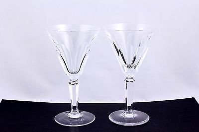 SET OF 2 WATERFORD CRYSTAL SHEILA CUT PANELS CLARET WINE GLASSES - RARE