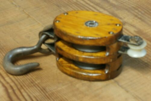 ANTIQUE Nautical/Maritime Ship Block & Tackle Double Pulley BOSTON & LOCKPORT CO