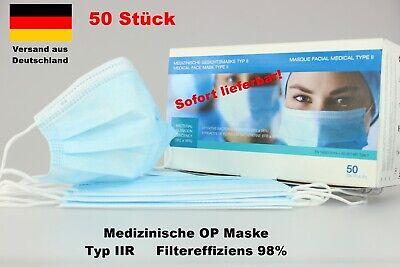 OP Maske medizinischer Mundschutz Atemschutz Nasen Schutzmaske Typ IIR 50 Stück