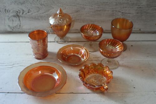 Lot of Amber Colored Carnival Glass