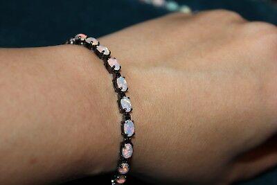 lab fire opal silver filled black gold filled bracelet jewelry cocktail design Black Gold Opal Bracelets